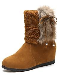 Недорогие -Для женщин Обувь Флис Зима Осень Армейские ботинки Ботинки Туфли на танкетке Круглый носок Ботинки Бант для Повседневные Черный Желтый
