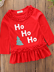 cheap -Girl's Christmas Daily Solid Word / Phrase Patchwork Dress,Cotton Polyester Spring Spring, Fall, Winter, Summer Long Sleeves Casual