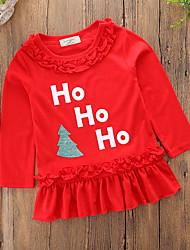 abordables -Robe Fille de Noël Quotidien Couleur Pleine Mot / Phrase Mosaïque Coton Polyester Printemps Printemps, Août, Hiver, Eté Manches Longues