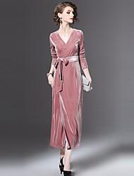 Dámské Jednoduchý Běžné/Denní A Line Šaty Jednobarevné,Dlouhé rukávy Do V Maxi Polyester Podzim Mid Rise Lehce elastické Neprůhledné