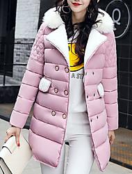 Недорогие -Жен. На каждый день Уличный стиль Однотонный Обычная На подкладке, Полиэстер Длинный рукав Красный / Розовый / Серый L / XL / XXL
