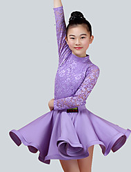 cheap -Kids' Dancewear Outfits Children's Performance Nylon Lace Long Sleeve Natural Skirts Tops