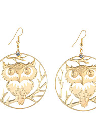 cheap -Women's Rhinestone Silver Plated Gold Plated Drop Earrings Dangle Earrings - Statement Fashion Lovely Circle Owl For Daily Evening Party