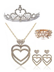 cheap -Women's Rhinestone Pearl Imitation Diamond Heart Jewelry Set Body Jewelry 1 Necklace 1 Ring Earrings - Fashion European Heart White Hair