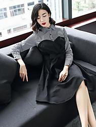 economico -Camicia Vestito Da donna-Per uscire Casual Moda città Monocolore Colletto Al ginocchio Maniche lunghe Cotone Poliestere Inverno Autunno