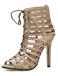abordables -Mujer Zapatos Semicuero Primavera / Verano Confort / Innovador / Botas de Moda Sandalias Tacón Stiletto Negro / Almendra / Boda / Con Lazo