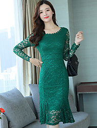 cheap -Women's Party Simple Sheath Dress,Solid Round Neck Midi Long Sleeve Cotton Polyester Fall High Waist Inelastic Opaque