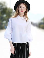 cheap -Women's Work Street chic Spring Summer Shirt,Solid Shirt Collar ¾ Sleeve Cotton Polyester Medium