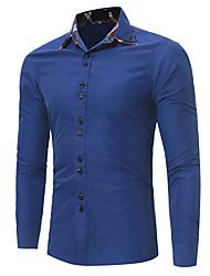 Masculino Camisa Social Trabalho Temática Asiática Primavera Verão,Estampa Colorida Algodão Colarinho de Camisa Manga Comprida Opaca