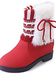 cheap -Women's Shoes PU Winter Fall Comfort Snow Boots Boots Low Heel Round Toe Mid-Calf Boots for Casual Red Yellow Black