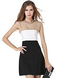 abordables -robe en mousseline de soie mince de travail des femmes - bloc de couleur, taille haute de base