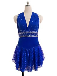 cheap -Figure Skating Dress Women's Girls' Ice Skating Dress Blue Spandex Lace Inelastic Performance Practise Skating Wear Solid Sleeveless Ice