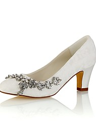 cheap -Women's Shoes Stretch Satin Spring Fall Basic Pump Wedding Shoes Chunky Heel Round Toe Crystal for Party & Evening Dress Ivory Champagne