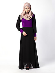 abordables -Ethnique et Religieux Jalabiya Robe caftan Abaya Robe Arabe Femme Fête / Célébration Déguisement d'Halloween Orange Violet Vert Couleur