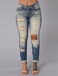 cheap -Women's Mid Rise Micro-elastic Jeans Pants,Vintage Color Block Cotton Fall