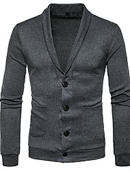 cheap -Men's Daily Casual Solid Shirt Collar Sweater Cardigan, Long Sleeves Winter Polyester Spandex