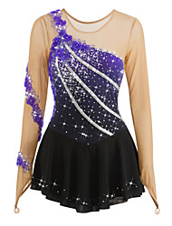 cheap -Figure Skating Dress Women's / Girls' Ice Skating Dress Spandex Rhinestone / Appliques Performance / Leisure Sports Skating Wear Handmade