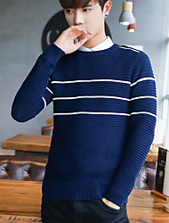 Men's Casual/Daily Simple Regular Pullover,Striped Round Neck Long Sleeves Japanese Cotton Fall Opaque Micro-elastic