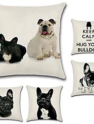 Недорогие -набор из 5 французских бульдог узор подушка покрытие хлопок / белье собака подушка случае квадратный диван подушка покрытие