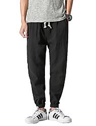 abordables -Hombre Simple Tejido Oriental Tiro Medio Microelástico Chinos Pantalones,Un Color Algodón Lino Todas las Temporadas