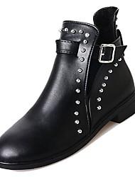 baratos -Mulheres Sapatos Couro Ecológico Inverno Coturnos Botas Salto Baixo Ponta Redonda Botas Cano Médio Miçangas Preto