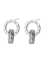 cheap -Women's Stud Earrings Cubic Zirconia Casual Lovely Silver Zircon Circle Jewelry Ceremony Going out