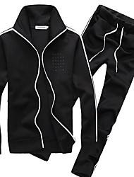 baratos -Homens Conjunto Camiseta e Calça de Corrida Manga Longa Treinador, Caminhada, Fitness Moletom para Fitness / Corrida Raiom Preto /