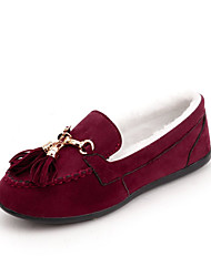 cheap -Women's Shoes Fabric Fall Moccasin Loafers & Slip-Ons Flat Heel Round Toe Bowknot for Dress Black Gray Brown Red
