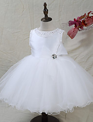 cheap -A-Line Knee Length Flower Girl Dress - Satin Tulle Sleeveless Jewel Neck with Beading Bow(s) by LAN TING BRIDE®