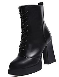 Damer Sko PU Vinter Militærstøvler Støvler Kraftige Hæle Rund Tå Støvletter for Afslappet Sort