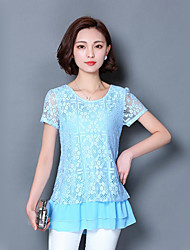 cheap -Women's Going out Club Sexy Chinoiserie Sophisticated Spring Fall Blouse,Solid Round Neck Short Sleeve Spandex Thin
