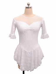 abordables -Robe de Patinage Artistique Femme Fille Patinage Robes Blanc Noir Spandex Non Elastique Utilisation Exercice Tenue de Patinage Couleur