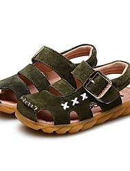 Недорогие -Мальчики Обувь Свиная кожа Лето Удобная обувь / Обувь для малышей Сандалии На липучках для Светло-серый / Зеленый / Светло-коричневый
