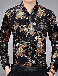 Недорогие -Для мужчин Повседневные Осень Рубашка Рубашечный воротник,Шинуазери (китайский стиль) Геометрический принт Длинные рукава,Полиэстер,