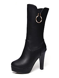 cheap -Women's Shoes Leatherette PU Winter Fall Fashion Boots Boots Stiletto Heel Round Toe Knee High Boots Mid-Calf Boots for Dress Party &