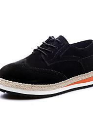 Недорогие -Жен. Обувь Свиная кожа Кожа Весна Осень Оригинальная обувь Удобная обувь Туфли на шнуровке Платформа Круглый носок Драпировка для Офис и