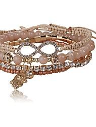 Mulheres Enrole Pulseiras Gema Clássico Fashion Vidro Imitações de Diamante Liga Infinidade Jóias Diário