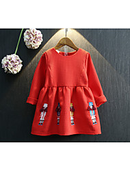 cheap -Girl's Christmas Birthday Solid Embroidery Dress, Cotton Polyester Spring Fall Long Sleeves Cute Red