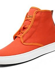Damer Sko Stof Forår Efterår Komfort Sneakers Gang Flade hæle Rund Tå Støvletter Rosette for Orange Beige Grå Army Grøn