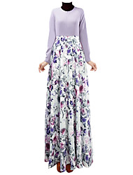 abordables -Ethnique et Religieux Jalabiya Robe caftan Abaya Robe Arabe Femme Fête / Célébration Déguisement d'Halloween Violet Bleu Bleu Encre Fleur