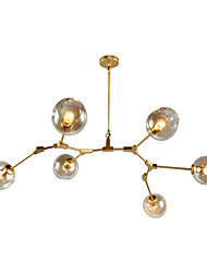 6 head Northern Europe Vintage Golden Chandelier Glass Molecules Pendant Lights Living Room Bedroom