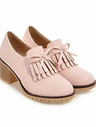 Недорогие -Жен. Обувь Полиуретан Весна Осень Удобная обувь Мокасины и Свитер На толстом каблуке для Повседневные Белый Черный Розовый