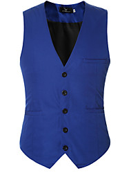 cheap -Men's Daily Casual Fall Short Vest,Solid V Neck Others