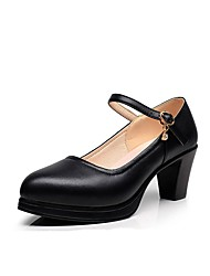 preiswerte -Damen Schuhe Mikrofaser Frühling Herbst Pumps High Heels Blockabsatz Spitze Zehe Strass Schnalle für Normal Büro & Karriere Weiß Schwarz