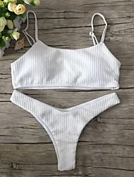 abordables -Femme Licou Bandeau Bikinis - Basique, Couleur Pleine Tanga