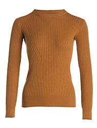 economico -Standard Pullover Da donna-Casual Semplice A strisce Girocollo Manica lunga Acrilico Medio spessore Media elasticità