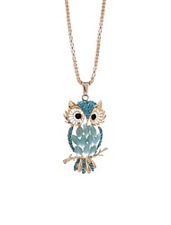 cheap -Women's Owl Rhinestone Pendant Necklace Chain Necklace  -  Casual European White Light Blue Necklace For Gift New Year