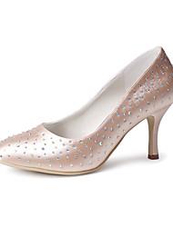 preiswerte -Damen Schuhe Seide Frühling Sommer Pumps Hochzeit Schuhe Konischer Absatz Geschlossene Spitze Strass für Hochzeit Party & Festivität