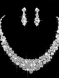 cheap -Women's Jewelry Set Cubic Zirconia Alloy Formal Simple Wedding Party 1 Necklace Earrings Costume Jewelry