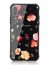 Недорогие -Кейс для Назначение Apple iPhone X iPhone 8 Защита от удара С узором Кейс на заднюю панель Слова / выражения Цветы Твердый Закаленное